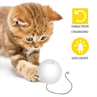 HomeRunPet Smart Interactive Cat Toys, Automatic 360 Degree Self Rotating Ball Toys with Bell, Built-in Spinning Sparkle Eye-Protection LED Cat Toy Balls (Batteries Included)