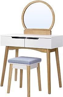 SONGMICS Coiffeuse avec miroir, Table de maquillage moderne, avec tabouret rembourré, 2 grands tiroirs coulissants, 80 x 1...