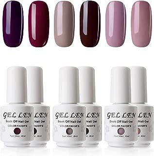 Gellen UV Gel Polish 6 Colors Dark Shade Understated Elegance Colors - Soak Off Home Gel Manicure Set, 8ml Each