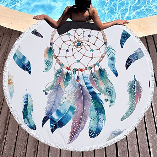 LIUNIAN Atrapasueños Toalla de Playa Toallas de baño Redondas Grandes de Secado rápido con borlas Estera de Yoga Redonda Manta de Playa para niños, niñas y niños, 150 CM x 150 CM
