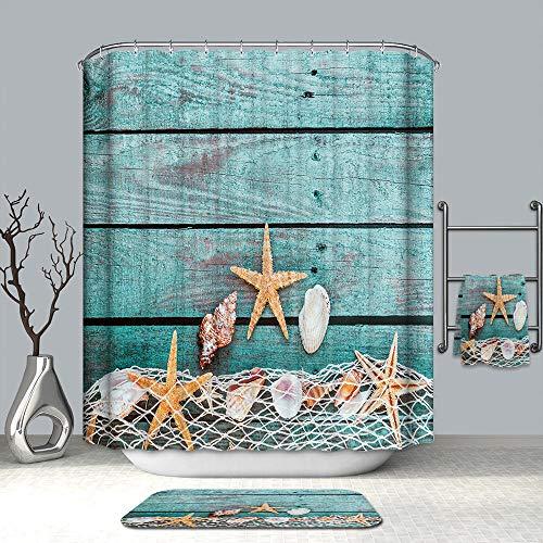 Vlejoy Cortina De Ducha Starfish Alfombra Antideslizante Cojín De Asiento De Inodoro Baño Antideslizante Cocina Cortina De Ducha Impermeable 4 Piezas