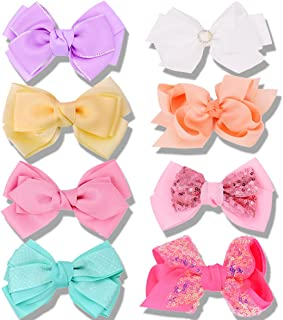 Bow Hair Clips for Girls Bowknot Clips Hairpin Hair Barrette Back to School Hair accessories 9Pcs Sparkle Double Layer Bow...