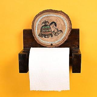 Aakriti Art Creations Wooden Work Brown Wall Toilet Roll Holder