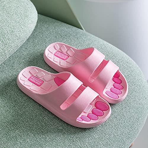 JaMsnc Zapatillas de baño para mujer, zapatillas de residentes de pareja, zapatillas antideslizantes de baño - Rosa A_38-39, sandalias de casa suaves