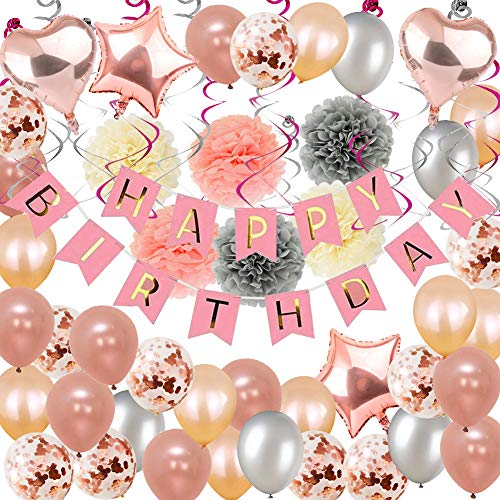 Toupons Party Decorations Rose Gold, 59Pcs Birthday Decorations for Girl Women with Happy Birthday Banner Helium Confetti Latex Balloons for 1st 13th 16th 18th 21st 30th 40th 50th Party Decor Pink