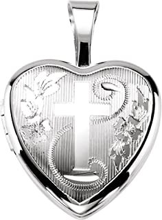 Sterling Silver Chapel Cross and Flower Heart Locket Pendant