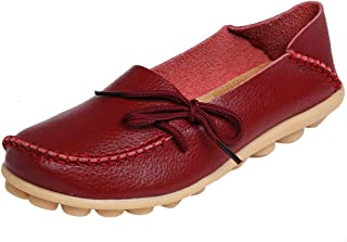 DUOYANGJIASHA Fashion Brand Best Show Womens Leather Loafers Flats Casual Round Toe Moccasins Wild Breathable Driving