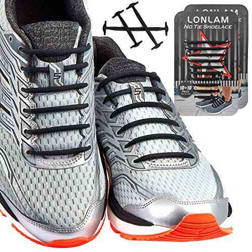 [Upgrade] Lonlam No Tie Shoelaces (Round Stretch Strings) Silicone Elastic Bungee Rubber Laceless Lazy Tieless Shoe Laces for Adults Kids Toddlers, Sneakers Athletic Running Boot Dress Shoes (Black)