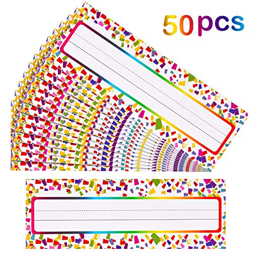 50 Pieces Self Adhesive Confetti Desk Name Plates Traditional Manuscript Nameplates for Primary Students and Teachers Using