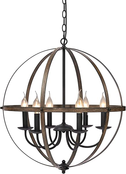 KingSo 6 Light Chandelier 23 62 Rustic Metal Pendant Light Oil Rubbed Bronze Finish Wood Texture Industrial Ceiling Hanging Light Fixture For Indoor Kitchen Island Dining Living Room Farmhouse
