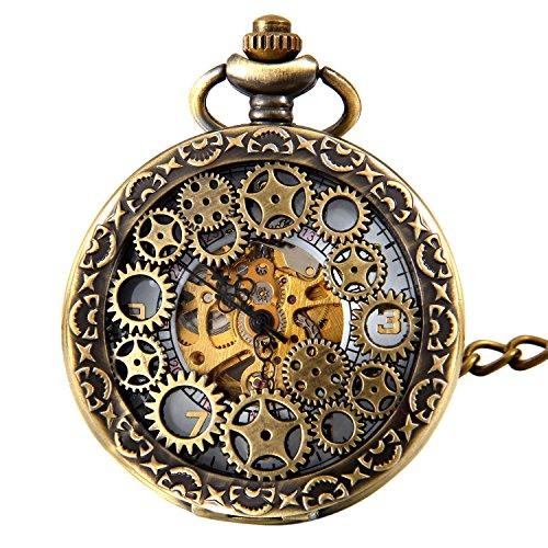 avaner Plateado Envejecido Steampunk Esqueleto número Romano Medio Cazador Caso Mano Viento mecánico Reloj de Bolsillo Collar (modelo6), Regalos Dia del Padre Originales