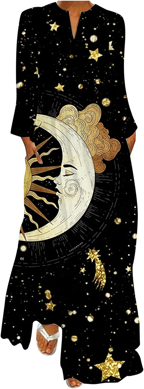 GCETTIC Dresses for Womens, Casual Women's Moon Print Maxi Dress Loose Long Sleeve Plus Size T-Shirt Long Dress