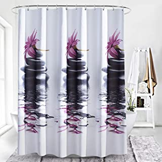 Adwaita Heavy Duty Waterproof Fabric Bathroom Shower Curtain Bath Curtain Weighted 100% Polyester, Machine Washable - 72 x 72 Inch with Purple Flower Design (White Purple)