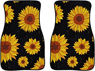 Salabomia 2pcs Universal Fit Most Car Sedan Truck Heavy Duty Rubber Floor Mat for Car Interior Wear Resistant Easy Clean Car Rug with Sunflower