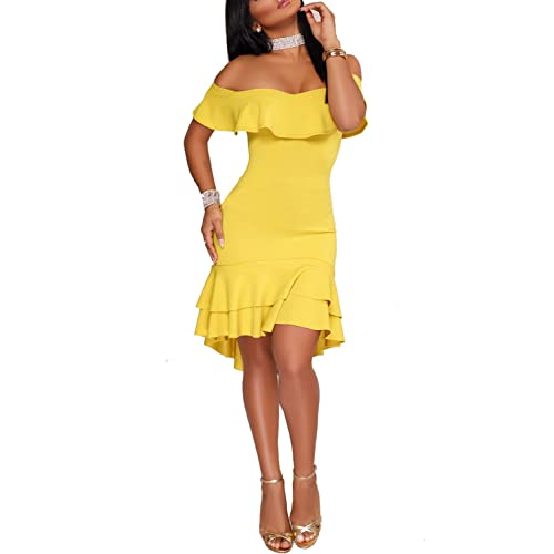 283df557aef Wonderoy Women s Ruffles Off Shoulder Fitted Club Party Cocktail Bodycon  Midi Dress