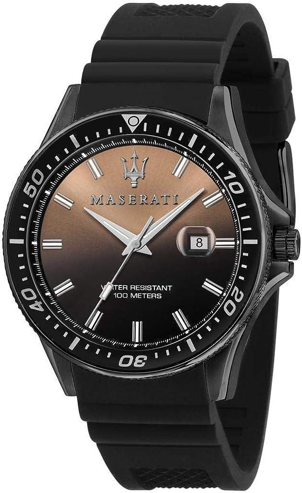 Maserati orologio da uomo, collezione sfida, in acciaio e cinturino in  silicone 8033288894698