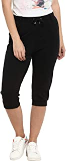 KVL Womens Cotton Knitted Regular Fit Solid Shorts - Black