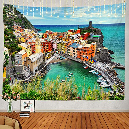N\A Hermoso Tapiz, Europa Italia Región de Liguria Cinque Terre Tapiz Grande Tapiz psicodélico Decoraciones Dormitorio Sala de Estar Dormitorio (Verde Azul)