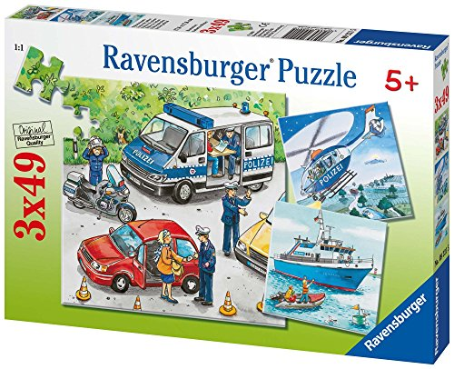 Ravensburger Kinderpuzzle 09221 - Polizeieinsatz - 3 x 49 Teile