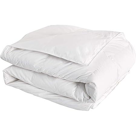 Downcy - Couette à rembourrage composé à 85% de duvet d'oie, avec housse 100% coton, 10,5tog, 135x200cm, Blanc