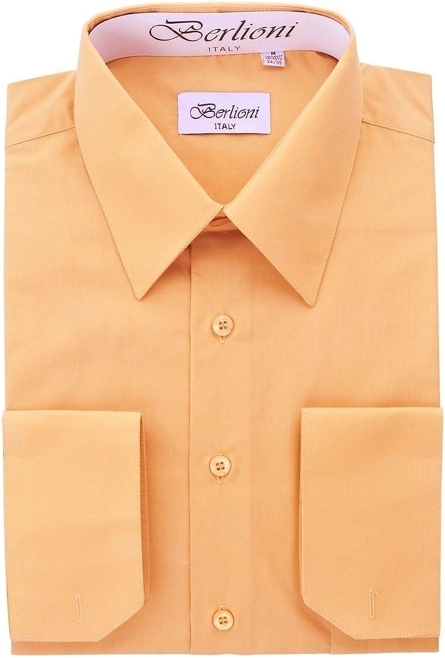 Berlioni Italy Men's Luxe Dress Shirt French Convertible Cuff Button Down Peach