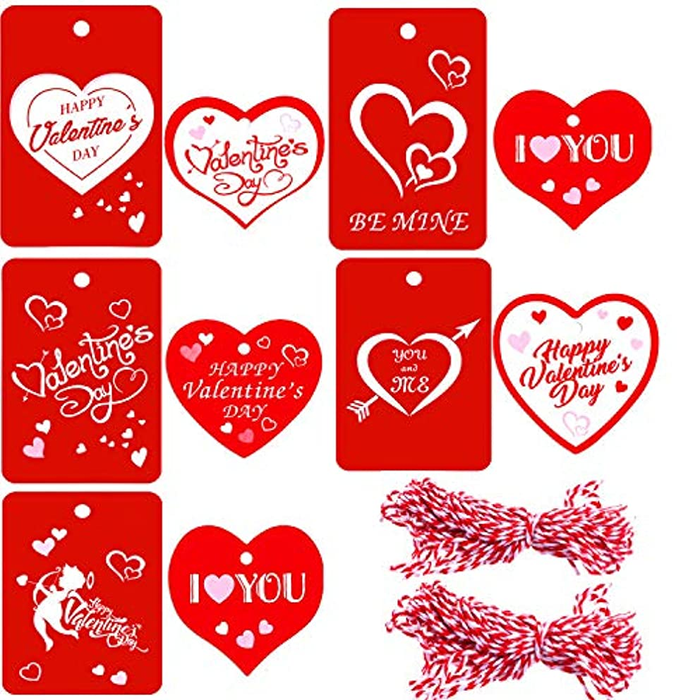 Zhanmai 200 Pieces Red Valentines Tags Paper Gift Tags Hang Labels with 65.6 ft Twines for Valentine's Day Decoration (F)