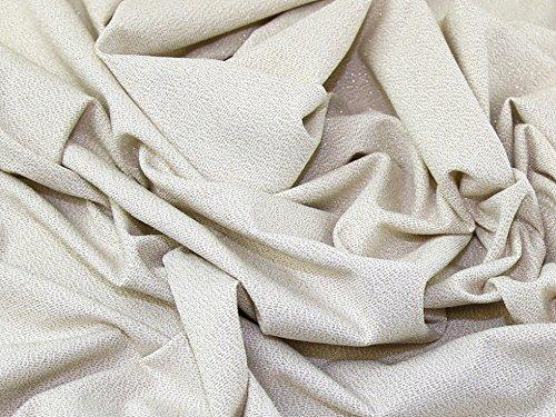 Glitzernde Lurex Stretch Jersey Knit Kleid Stoff gold auf, Meterware, Elfenbeinfarben