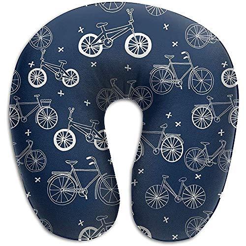 Warm-Breeze Handgezeichnete dunkelblaue Kinderfahrräder Fahrräder Bequemes U-förmiges Kissen, Reisekissen Memory Foam Neck Support