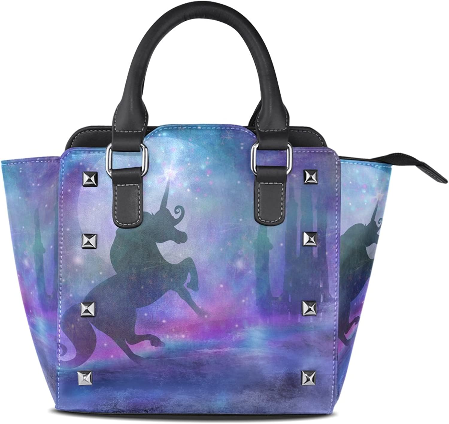Sunlome Castle and Unicorn Print Handbags Women's PU Leather Top-Handle Shoulder Bags