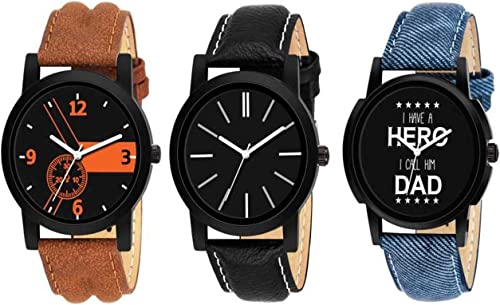 R P S Fashion New Arrival Wedding Seasons Special Casual Dress Fashion Luxury Collection Analog Men s Watch Black Dial Assorted Colored Strap Pack of 3
