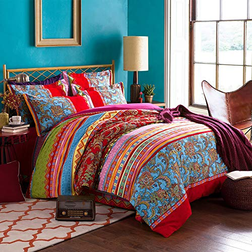 Lanqinglv Bohemian Duvet Cover Set King Size Boho Printed Bedding Set Kingsize Microfiber Indian Quilt Covers With Zipper Closure and 2 Pillowcases 50x75cn (Q,K)