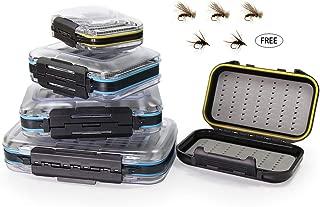 Croch Fly Fishing Box Flies Case Waterproof Double Sided with Five Flies