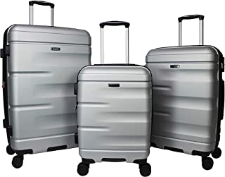 Dejuno Emerson 3-Piece Hardside Expandable Spinner Luggage Set-Silver