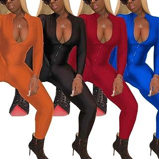 Smallwin Women Bodycon Long Sleeve Bodysuit Deep V Neck Rompers Jumpsuits