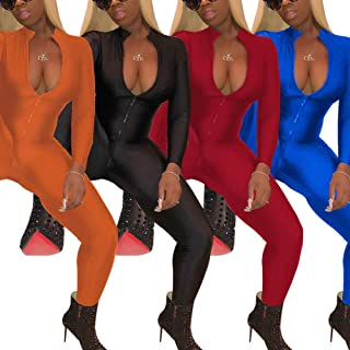 Women's Sexy Zip Up One Piece Outfits Deep V-Neck Long Sleeve Bodycon Long Pants Party Clubwear Jumpsuit Romper