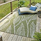 Unique Loom Outdoor Botanical Collection Casual Leafs Transitional Indoor and Outdoor Flatweave Green Area Rug (9' 0 x 12' 0)