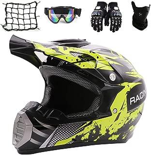 JACKJO Motocross Wearing Glasses Helmet (5 Pieces) Motorcycle Crosshelm Children Black and red Detachable Lining, Full face MTB ATV Downhill Endurance Helmet,M
