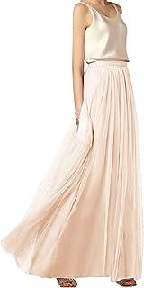 Mango-ice Faldas largas de Tul de 3 Capas, Faldas Suaves para Boda, Dama de Honor, tutú, Longitud del Piso, Jupe