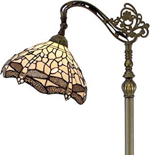 Tiffany Style Reading Floor Lamp Stained Glass Cream Dragonfly Lampshade in 64 Inch Tall Antique Arched Base for Girlfriend Bedroom Living Room Lighting Table Set S139 WERFACTORY