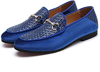 XinQuan Wang Retro Oxford for Men Classic Loafers with Metal Buckle Decor Slip on Pointed Toe Velvet & PU Leather Patchwork Anti-Slip Knit (Color : Blue, Size : 9 UK)