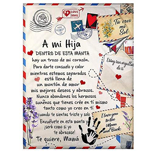 XRTJ Manta de Franela para mi Hijo y Hija Manta de Lana con Estampado de Carta de Mensaje Manta de Lana para Hijo/Hija Navidad Español,para Hija,150 * 200CM