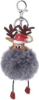 Grigio Scuro BESTOYARD Portachiavi di Natale Portachiavi a Forma di Renna con Peluche Pom Pom