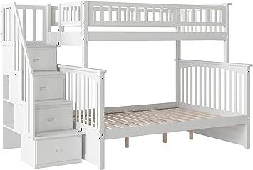 Amazon Com Atlantic Furniture Columbia Staircase Bunk Bed Twin Full White Furniture Decor