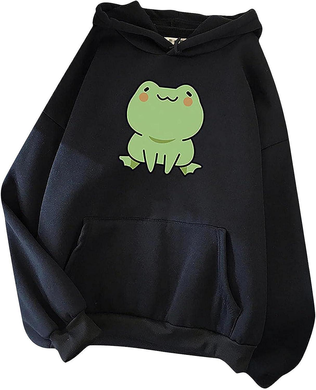 Hoodies for Women,Womens Crewneck Sweatshirts Graphic Cute Frog Kawaii Teens Girls Plus Size Hoodie Pullover