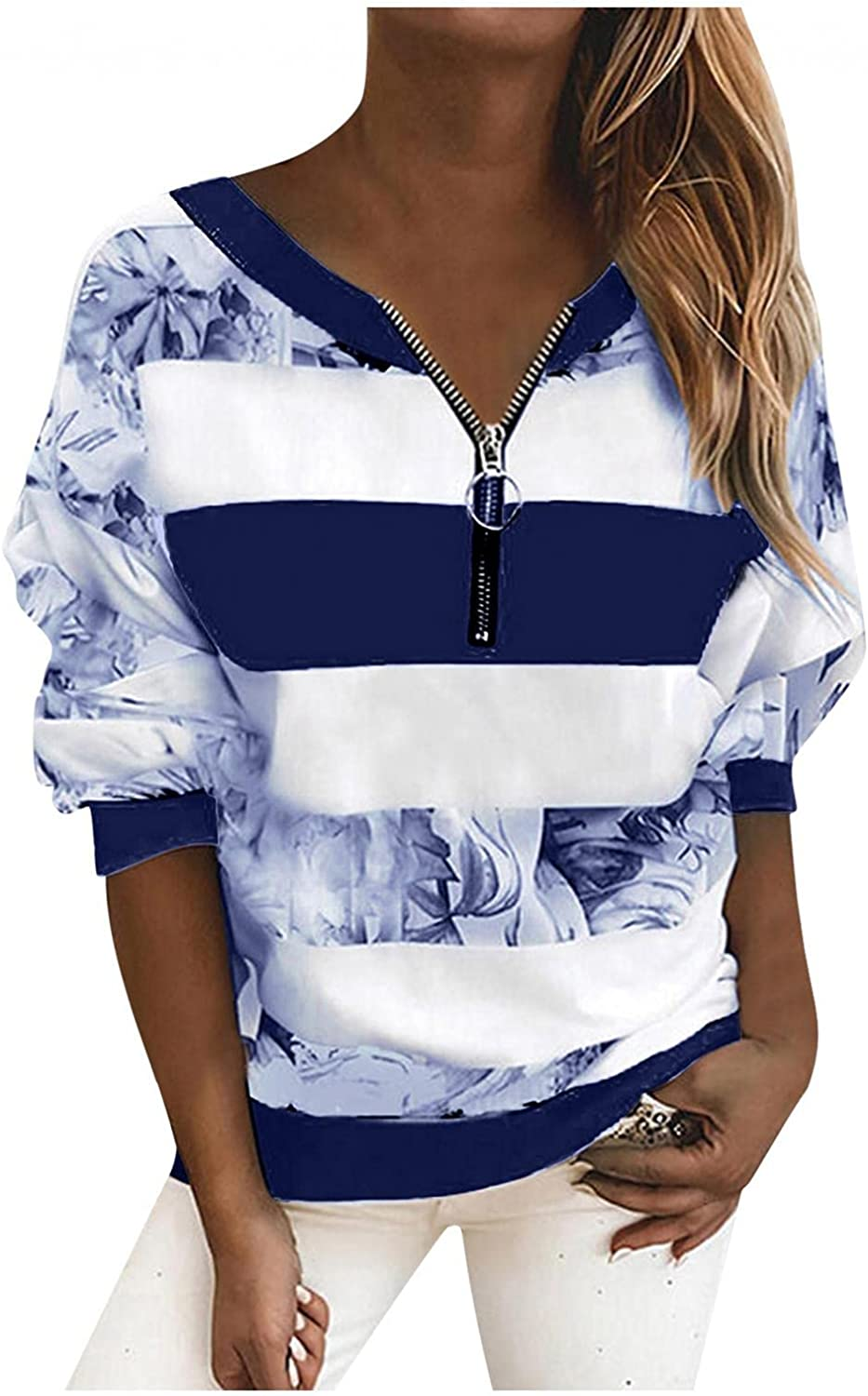 Masbird Fall Clothes for Women 2021, Womens Long Sleeve Zip Up Striped Fall Sweatshirt Casual Cute Vintage Sweater Tops