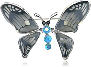 Silver Rhinestone Crystal Purple Enamel Wedding Bridal Butterfly Brooch Pin Gift   Parttern - Style-9