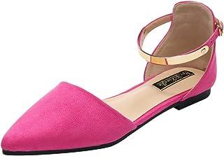 348d4a53 Jamron Mujer Dedo Punteado Correa de Tobillo Terciopelo Bailarinas Elegante  D'orsay Pumps Plano Zapatos