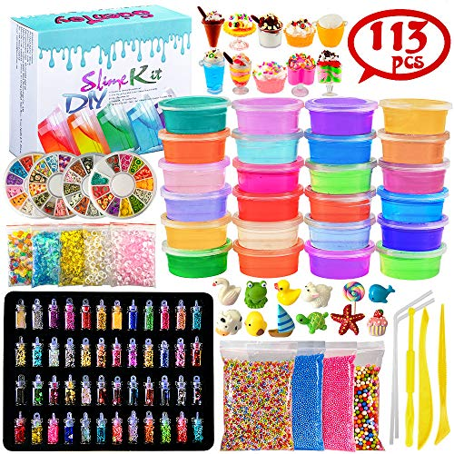 Scientoy DIY Slime Kits, 113 Pcs Slime Making Spplies for Kids ,DIY Box Include 24 Crystal Slime with containers, Slime...