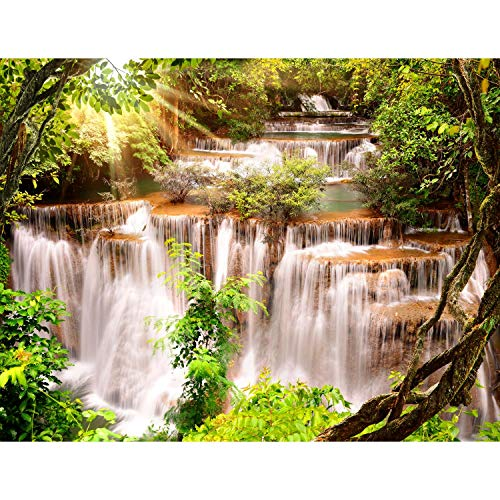 Runa Art Fototapete Wasserfall Landschaft Modern Vlies Wohnzimmer Schlafzimmer Flur - made in Germany - Grün Braun 9278010a