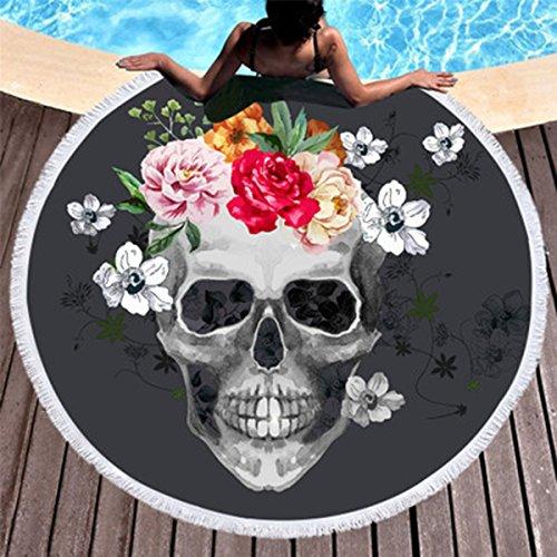 Koongso Skull - Manta redonda para playa, diseño de calavera, diseño de flores